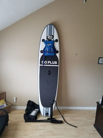 Inflatable paddle board, pump, paddle... can handle up to 220lbs.  Instructions provide in carry bag.