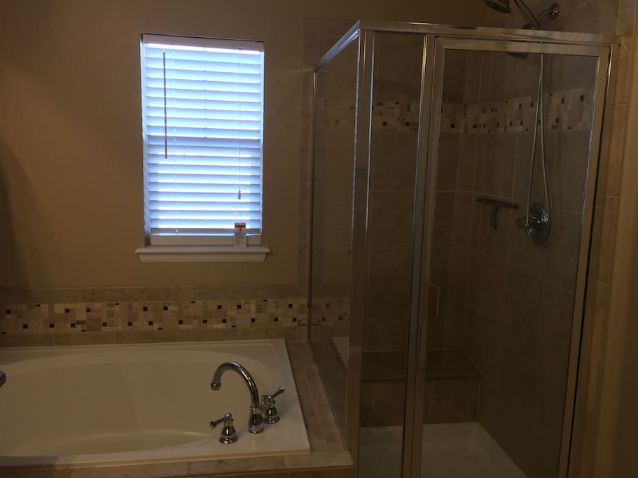 Master bath with bath tub and standing shower