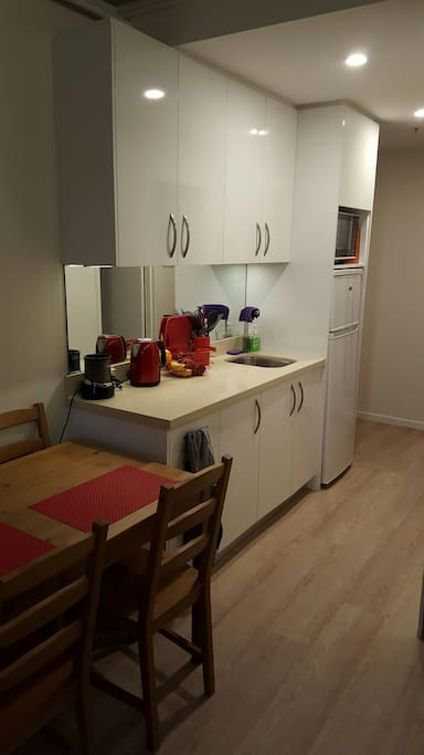 Fully equipped kitchen including fridge and microwave