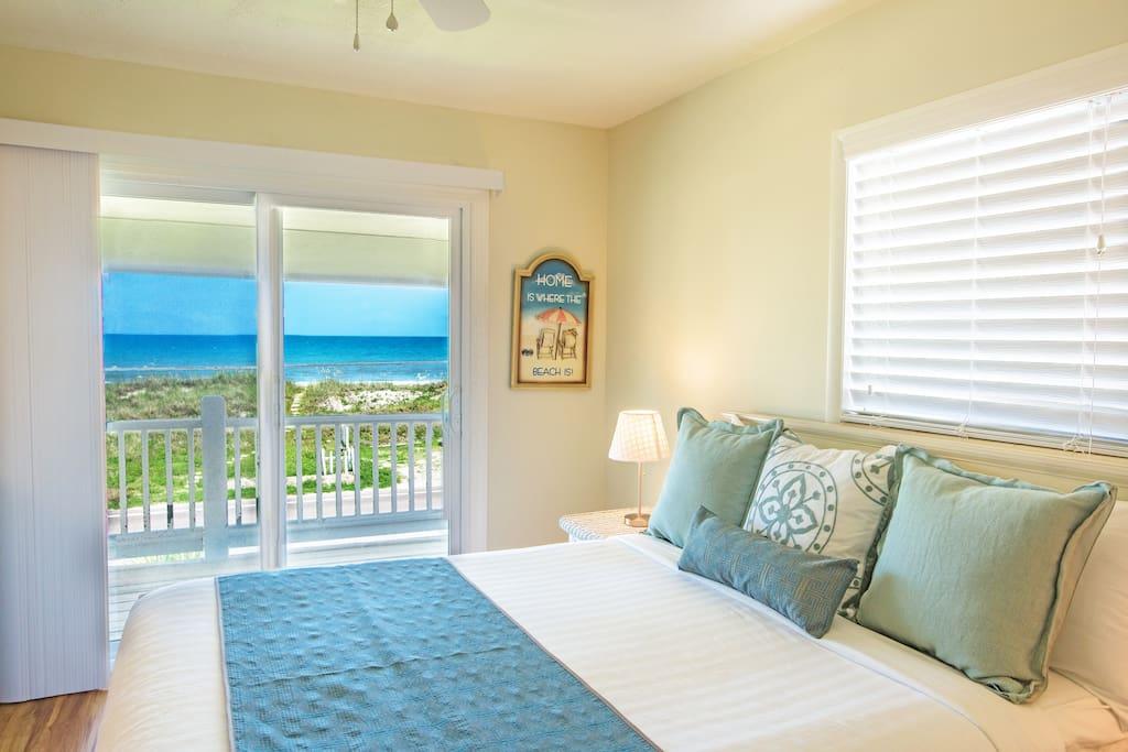 Bedroom facing the ocean in upstairs unit