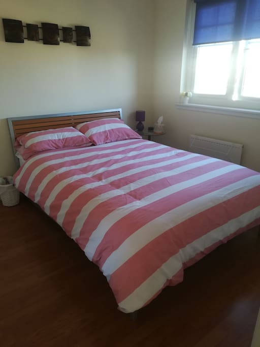 Private bedroom and double bed.