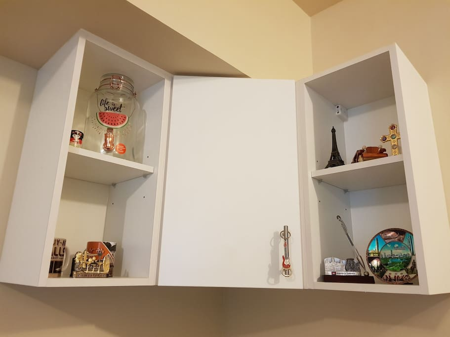 Cabinets and hanging cupboard for mixed use purposes.