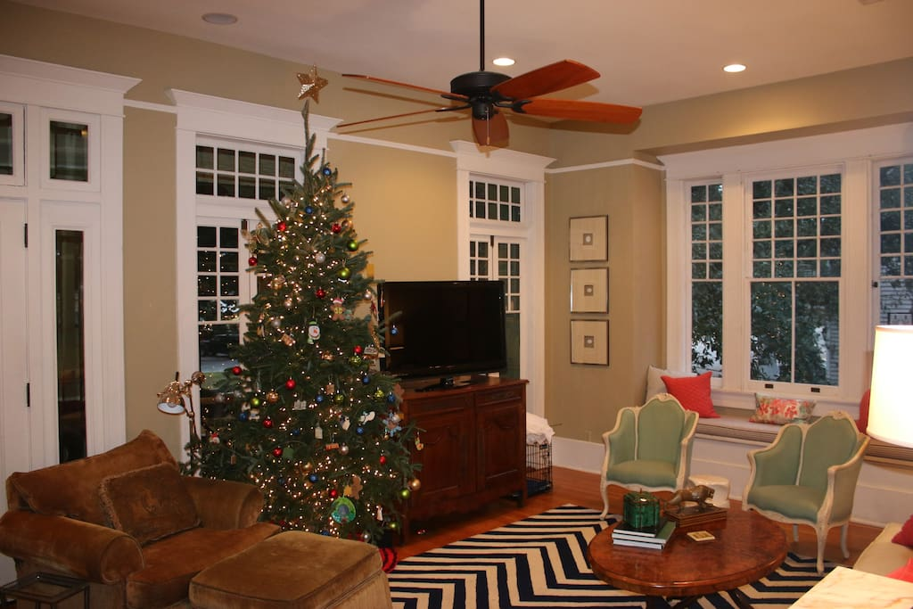 Large living room with 11 foot ceilings
