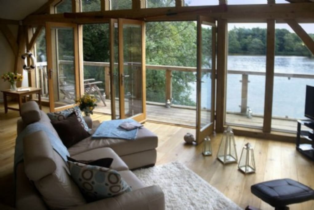 The Boat House, Belford, Northumbria, Cottage Holiday Group, balcony with incredible view over it's own private lake