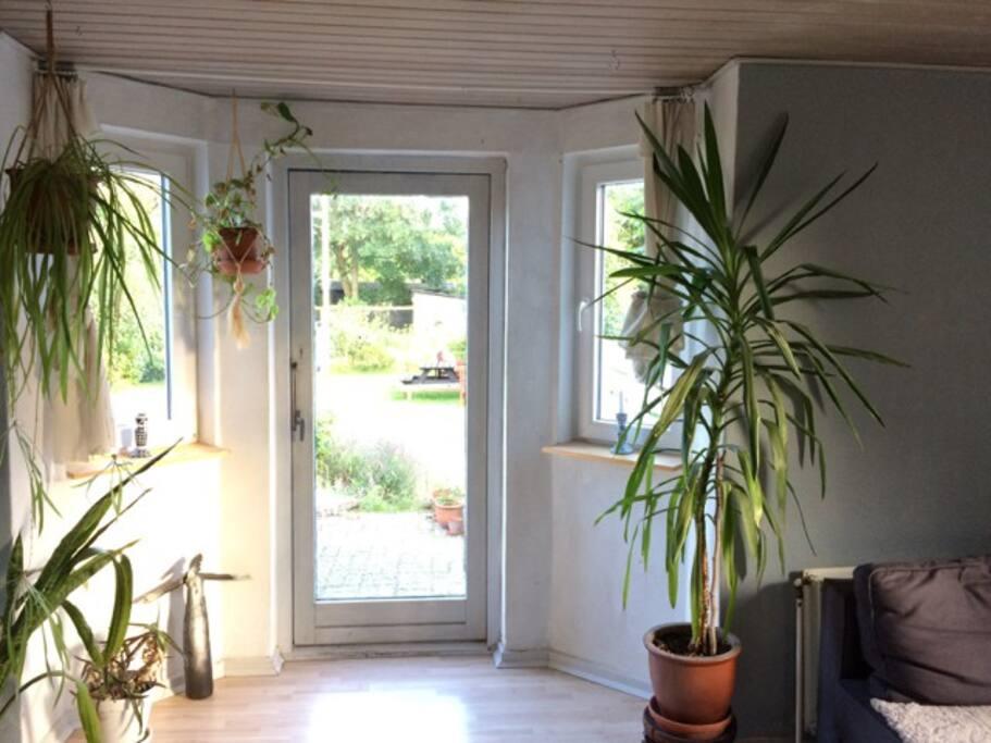Stuen med kig ud i haven.