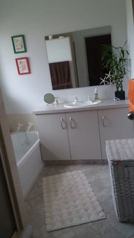 shared bathroom with separate toilet.