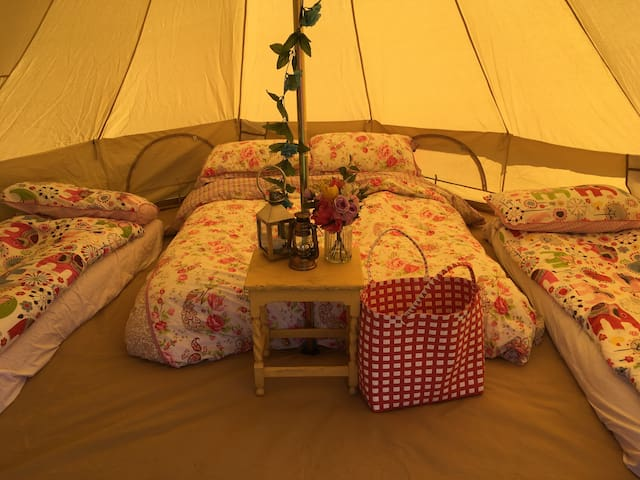 'Calf Asleep' 4m Bell Tent - Furnished