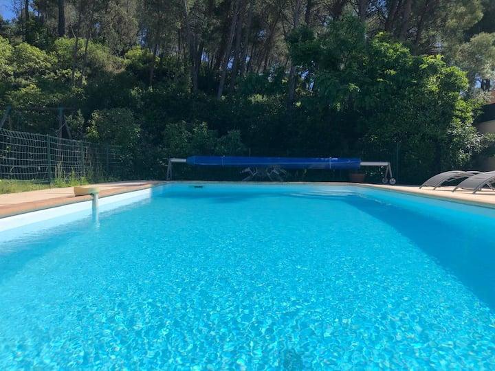 Grande villa avec piscine dans la pinède