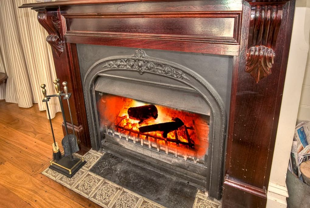 Winter warmth with an open fireplace