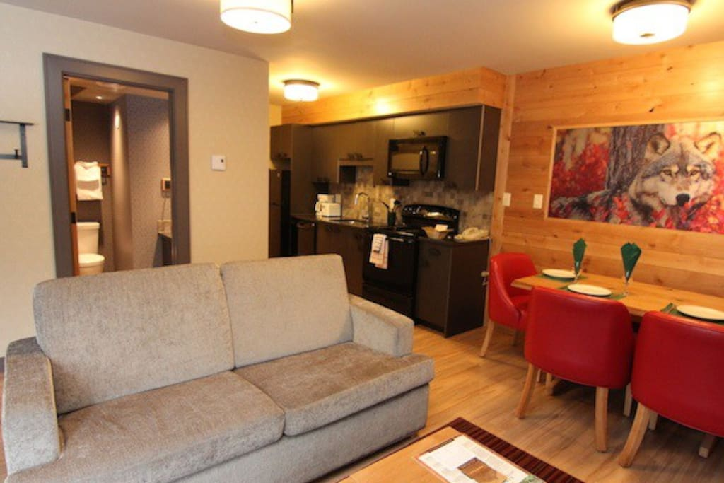 This newly-renovated condo features stylish mountain decor and beautiful hardwood floors.