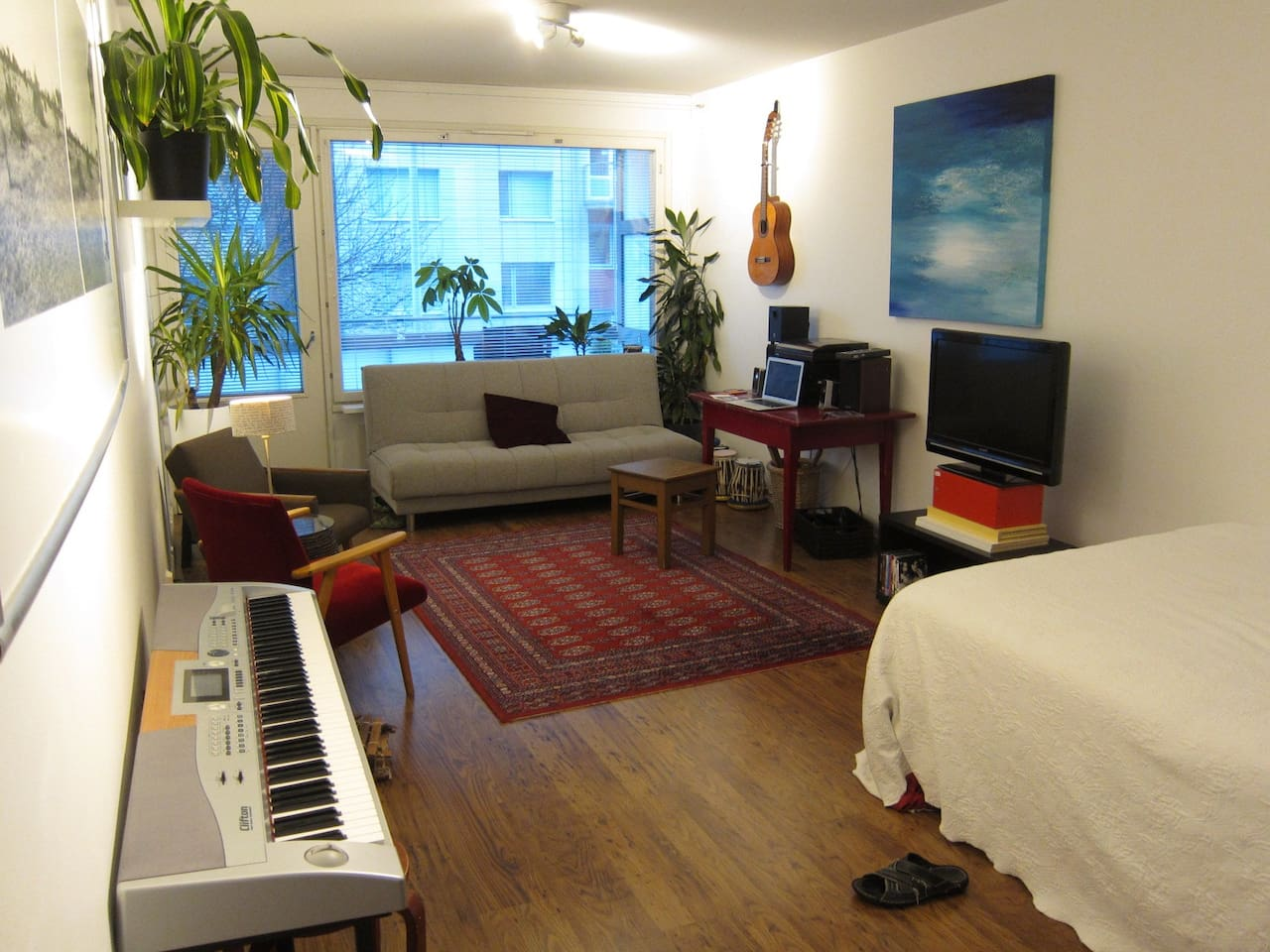 Living room and the balcony where smoking is ok.