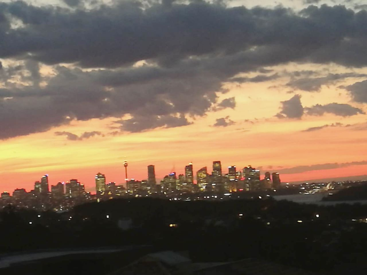 Sydney skyline and sunset