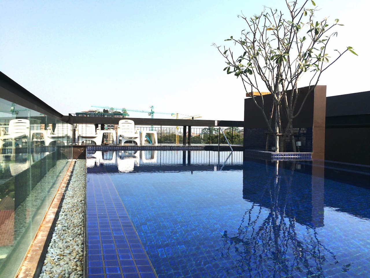 Rooftop swimming pool is free for guest.