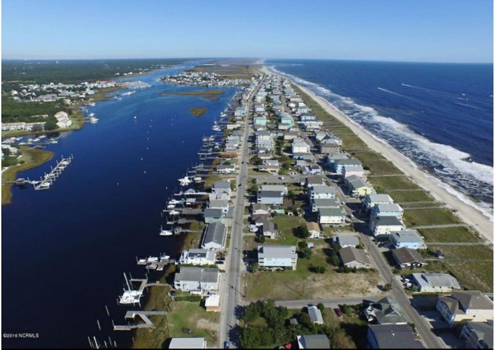 Aerial view of the island, our home is in between the intercoastal and the ocean