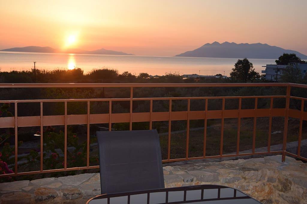 The sunrise from the veranda