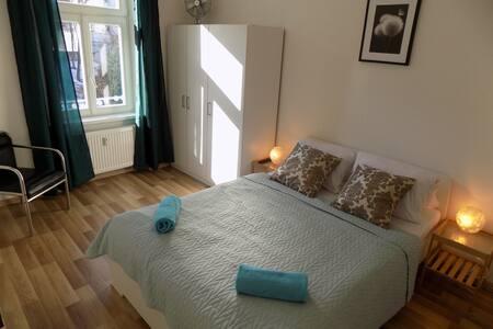 -Bedroom with TV, wardrobe and double bed. -Ložnice s televizí, skřín a manželská postel.