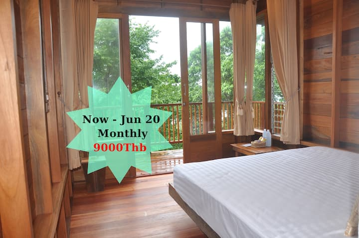 Wooden fan bungalow with forest view 206