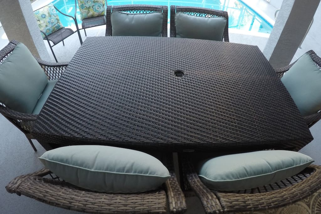 Cookout with the stainless steel grill and spacious patio furniture