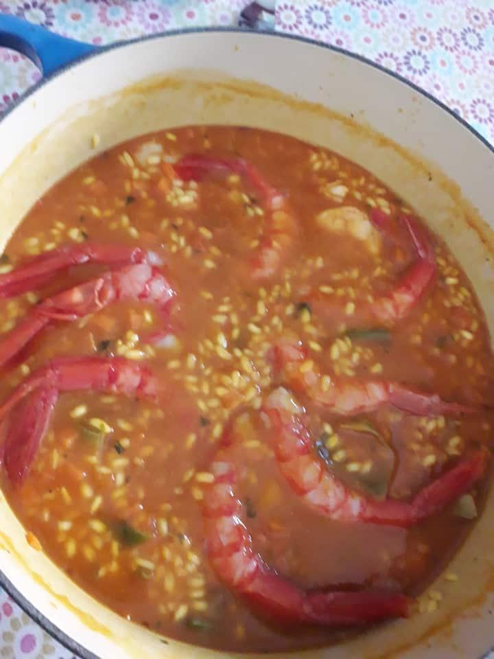 Mediterranean Red prawns rice