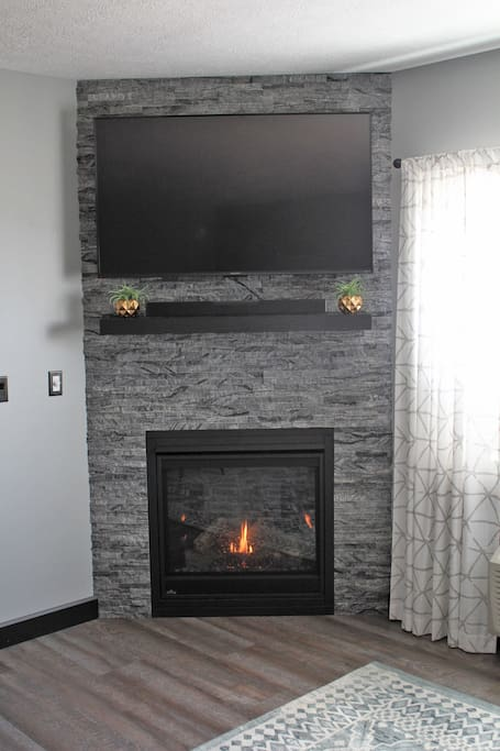 Gas Fireplace and Roku TV