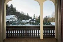 """Garden view from balcony│Room """"Julian Alps"""""""