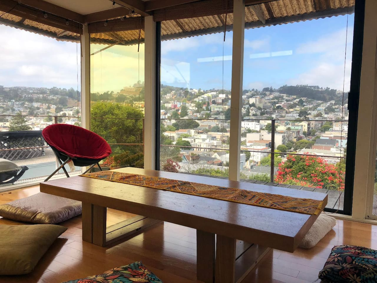 Our dining room /meditation room / hangout room with stunning San Francisco views is really the jewel of our apartment...