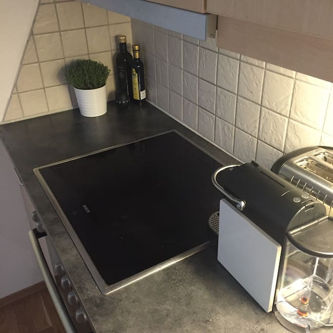 Well equipped kitchen with toaster, coffee-maker and everything else you need