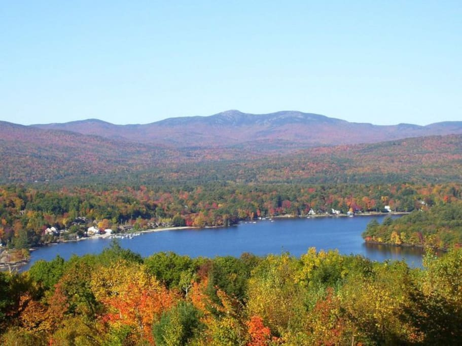 Newfound Lake with Mt. Cardigan in the background during foliage season.