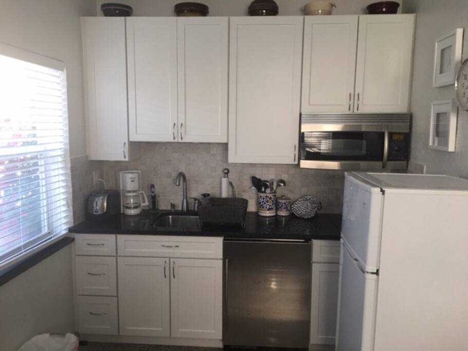 Two burner cook top and microwave with convection.