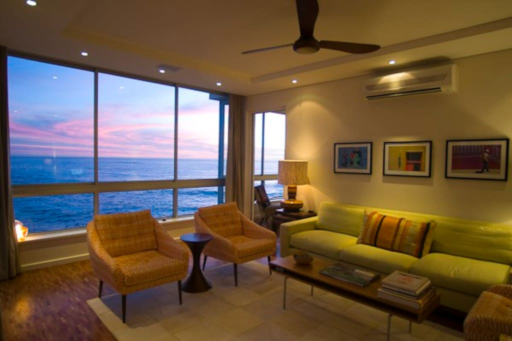 Living room with sea views