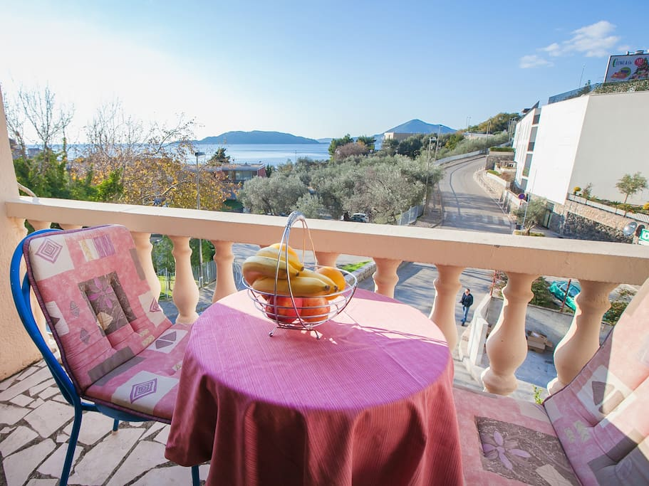 Private  balcony with sea view. Przno beach is within a walking distance