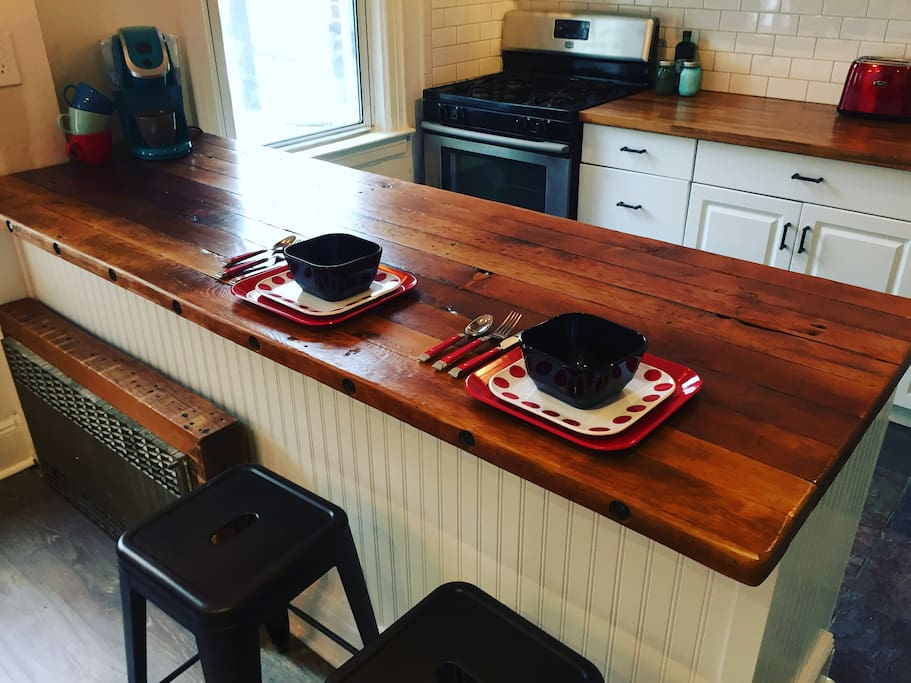 Reclaimed Breakfast Bar with Keurig, perfect for your morning wake up!