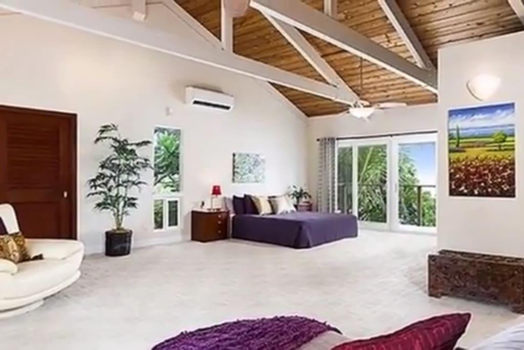 Vaulted ceilings, 2 outdoor balconies, walk-in shower, jacuzzi tub.