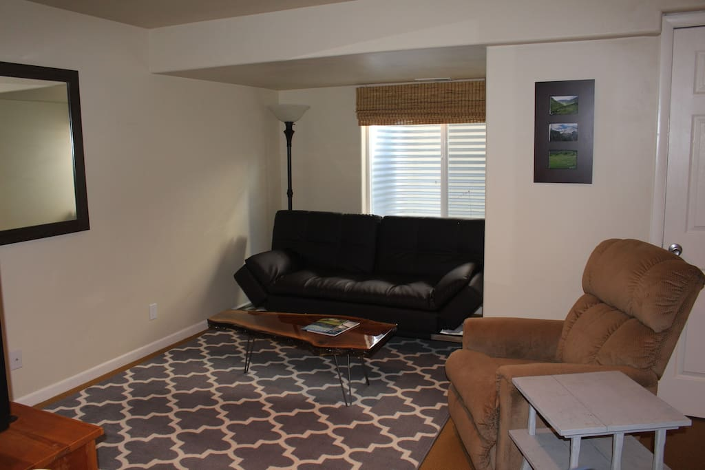 Small private living area with large screen TV and full size futon.