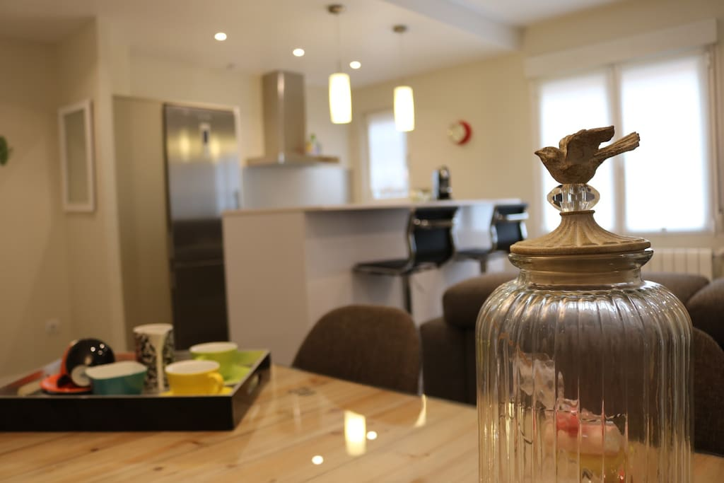 Dining table and kitchen