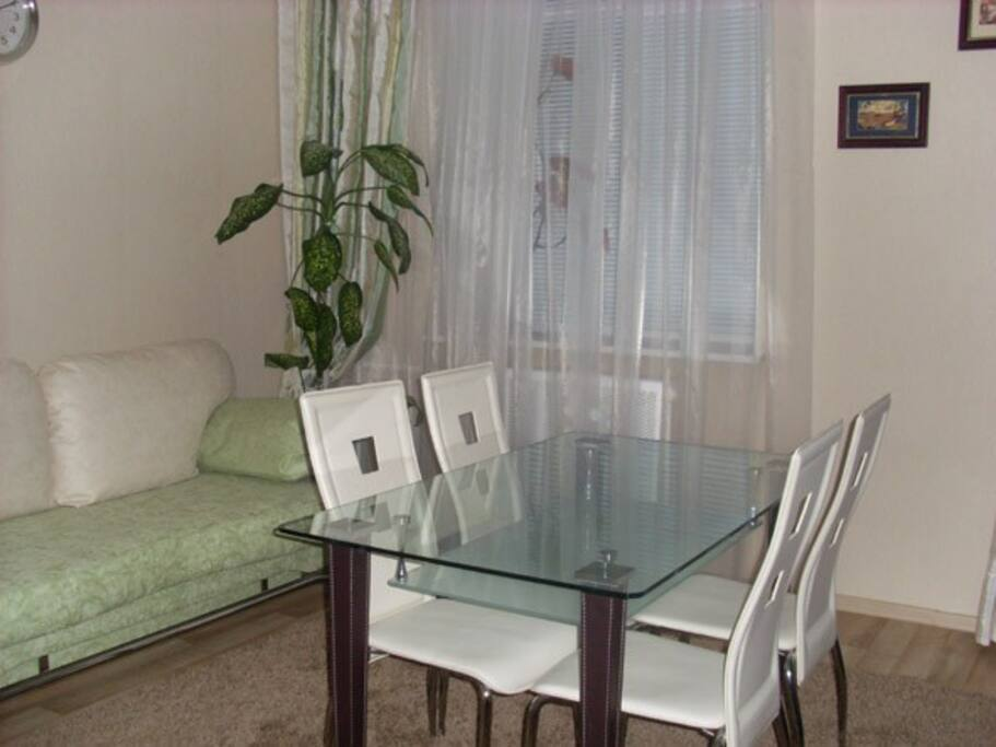 A kitchen with a full set of good dishes, dining area and comfortable sofa