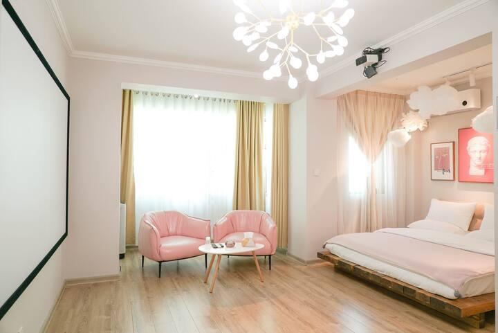 兰州西站 西客站【久栖】精选公寓 清新粉大床房