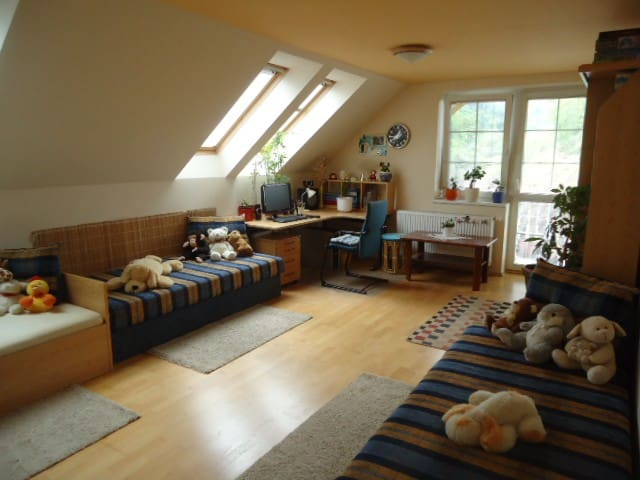 Bedroom  25m2 3 beds, attached balkony