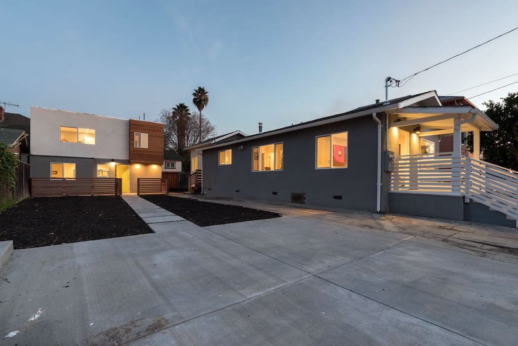 you are renting two houses on one lot. the first house in the front is 2 bedroom one bath with a completely remodel kitchen, dining  and bathroom. The back house is a two story with a complete remodel kitchen and bathroom.