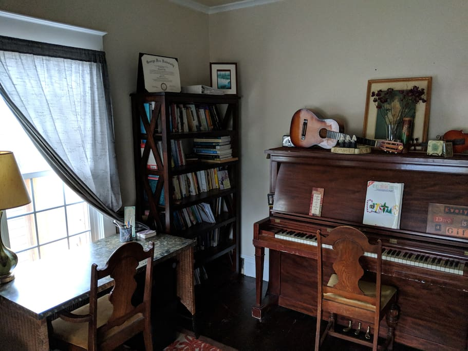 Let the writing desk and musical instruments inspire you.