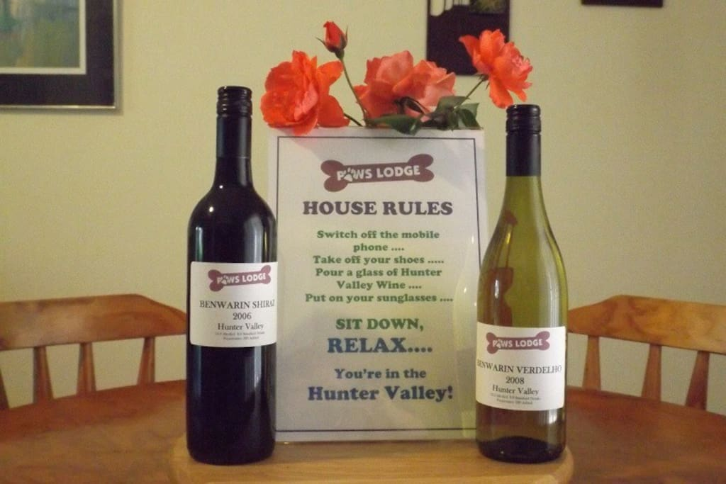 Welcome Message with Complimentary Hunter Valley Red & White wines