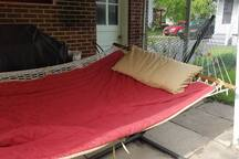 Hammock can be used under awning or in the sunny yard.