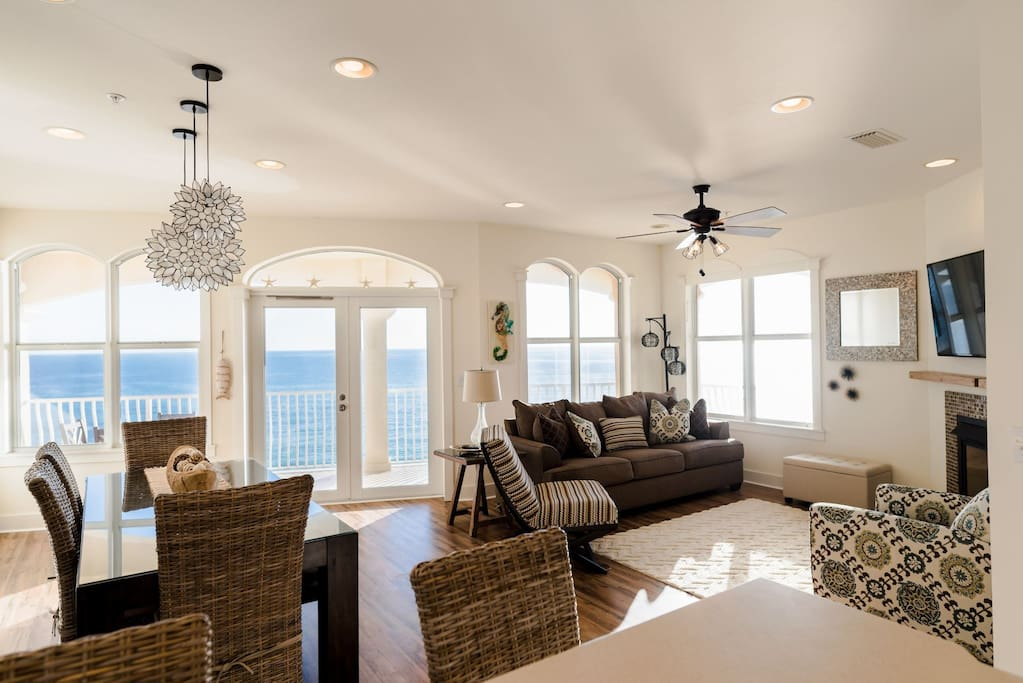 Expansive Gulf Front Views from the Open and Inviting Living Area