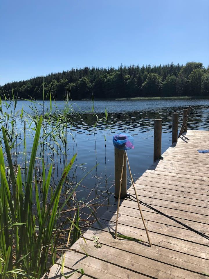 Sommerferie med egen badebro og sauna midt i Ry.