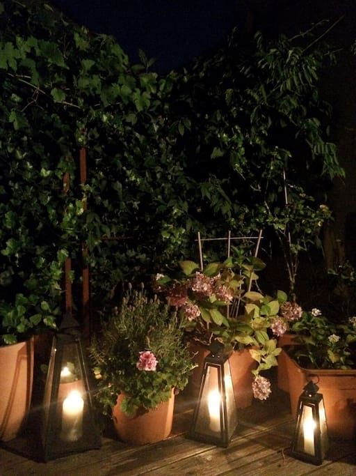 Terrace by candlelights. Summer