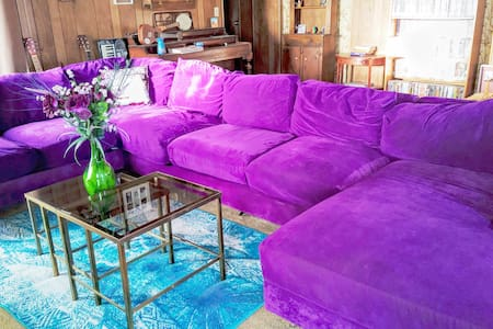 Super Comfy Purple Couch @off grid homestead