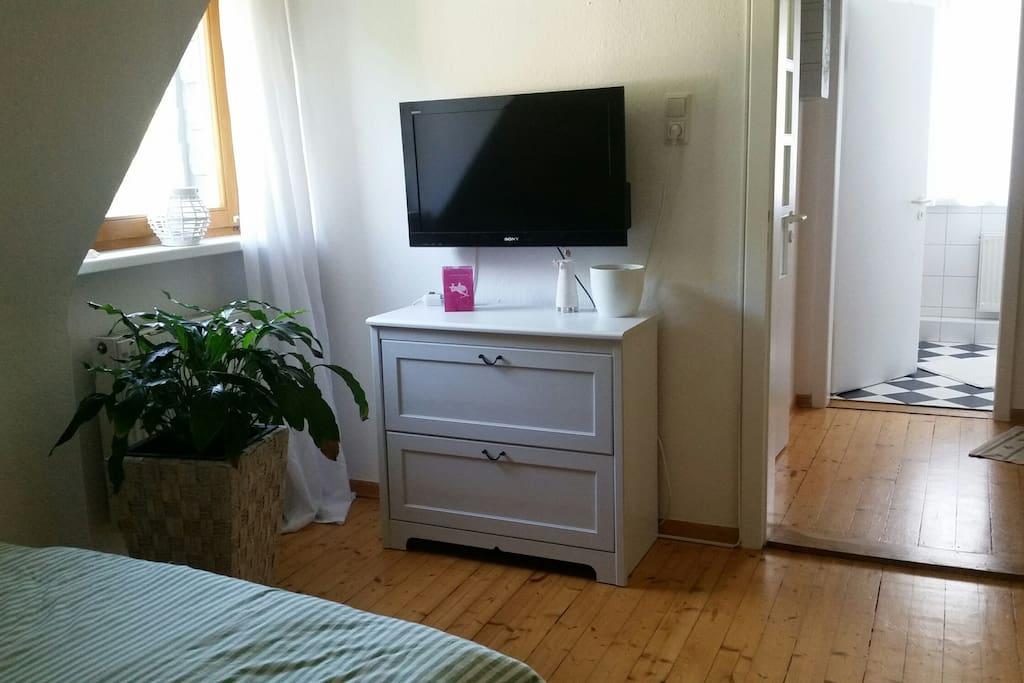 Zimmer mit Blick auf das Badezimmer