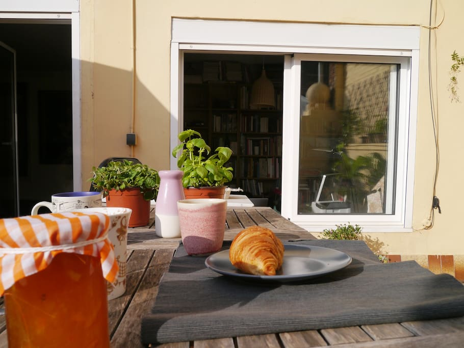French croissants and coffee on the terrace