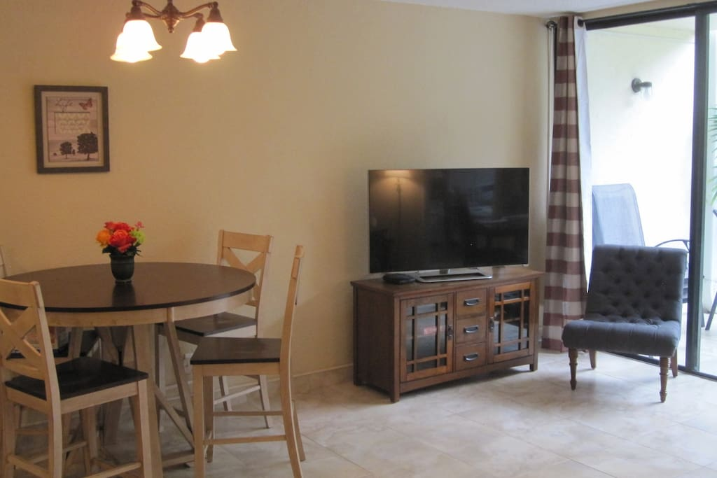 Our living space includes ample seating and dining space.
