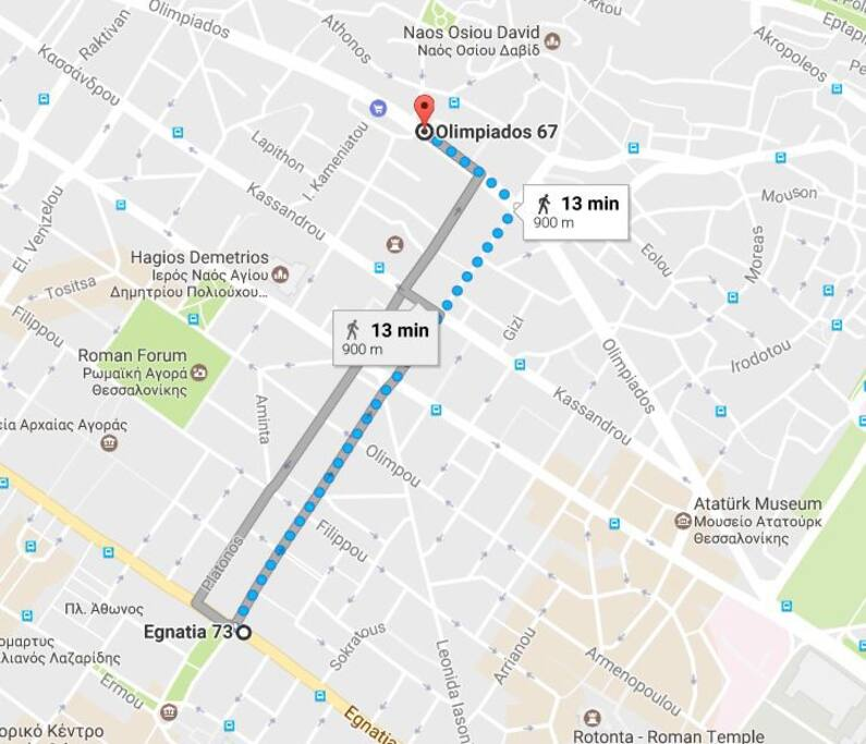13 min walking from center